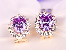 水晶宝石类型耳环 耳边闪亮亮