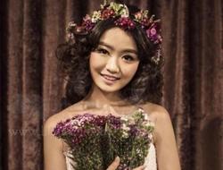 花冠新娘清新唯美新娘妆美美的