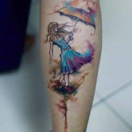 9款好看的雨伞主题的纹身图片