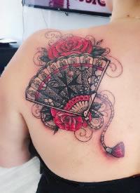 折扇纹身 传统扇子主题的9款纹身图片