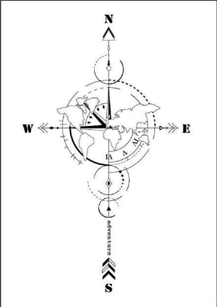 9款指南针主题的纹身图案和手稿