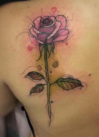 水彩花纹身 漂亮的水彩风格的几款花儿纹身图片