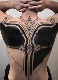 几何大黑臂 花式几何规则图形的大黑臂纹身作品