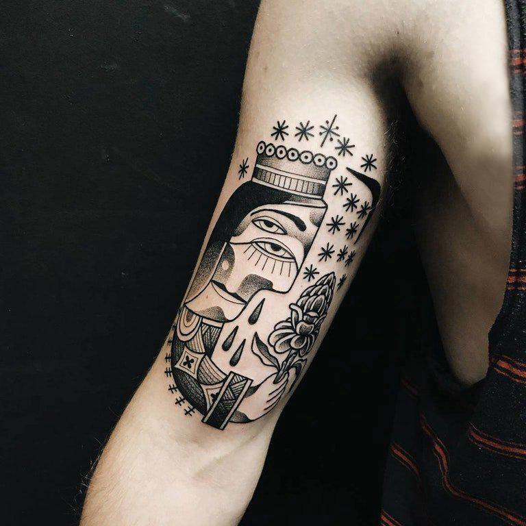 手臂纹身图片 男生手臂上另类的人物纹身图片