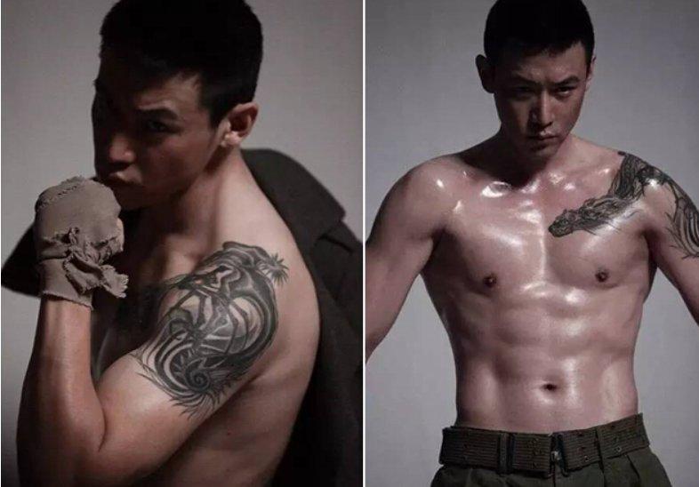 陆毅纹身图  明星肩膀上黑色的动物纹身图片