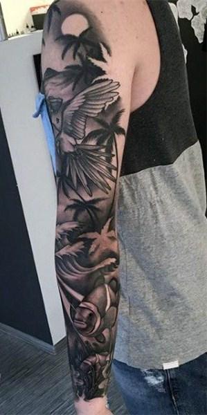 棕榈树纹身图案   清秀挺拔的棕榈树纹身图案