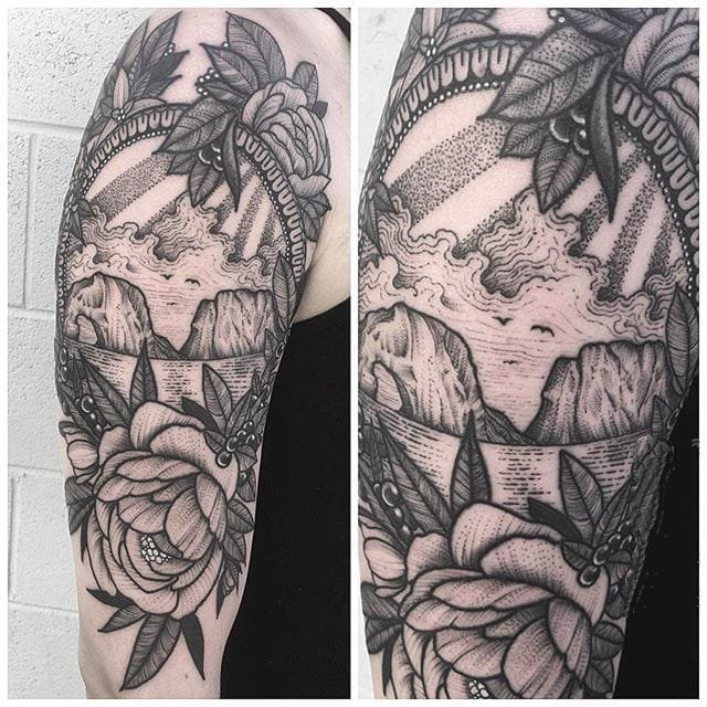 手臂简单线条纹身 黑色的手臂简单线条纹身点刺技巧小动物纹身风景图案