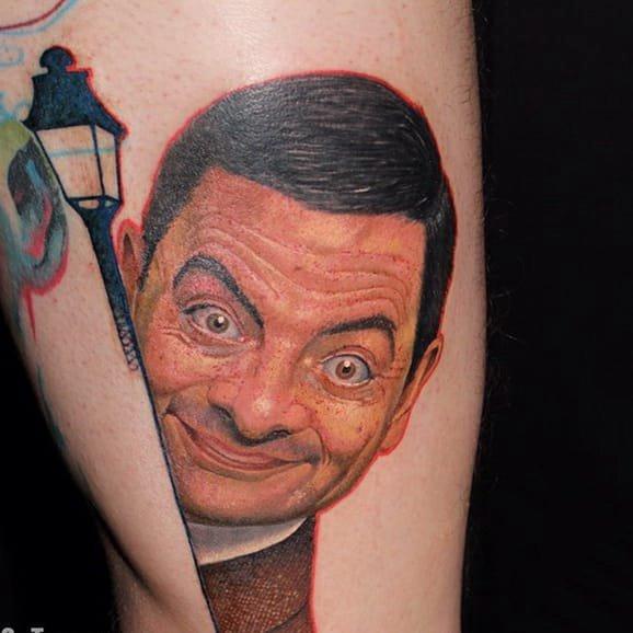 人物肖像纹身 有趣的喜剧艺人憨豆先生纹身图案