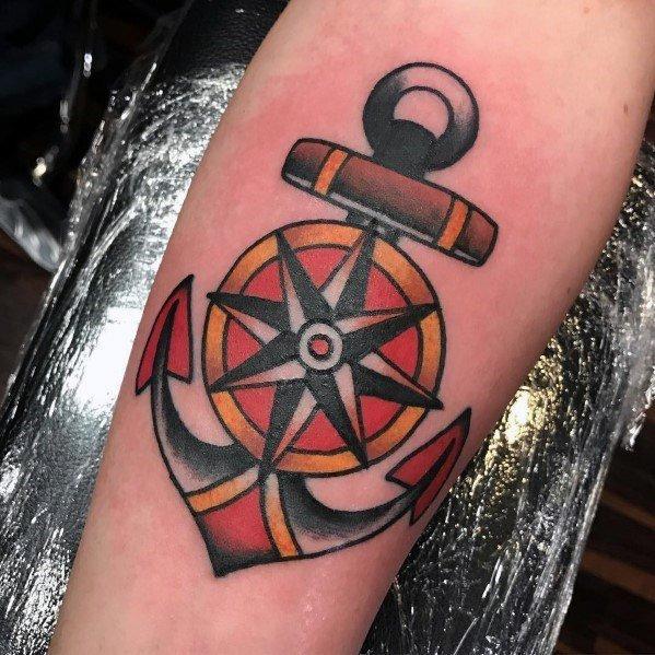 船锚纹身_9张男生比较喜欢的小清新船锚纹身图片作品