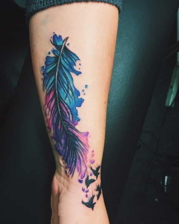 羽毛纹身-12款独特设计艺术感十足的羽毛纹身图案