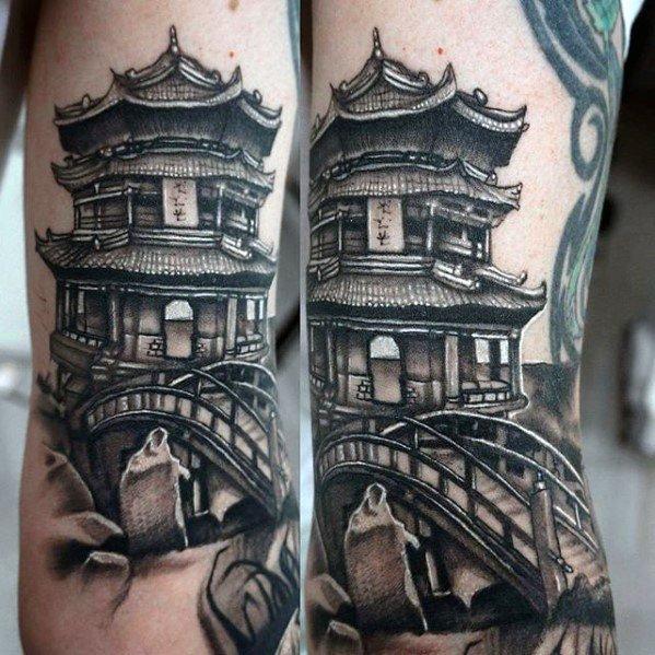手臂纹身-宏伟壮丽的素描手臂塔纹身图案