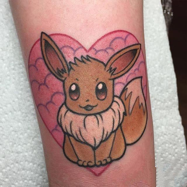 彩绘纹身图案-彩绘宝可梦伊布呆萌可爱纹身图案