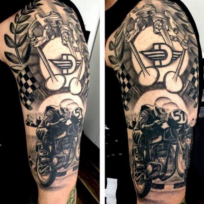 摩托车纹身图案-创意的霸气精致的摩托车骑手纹身图案