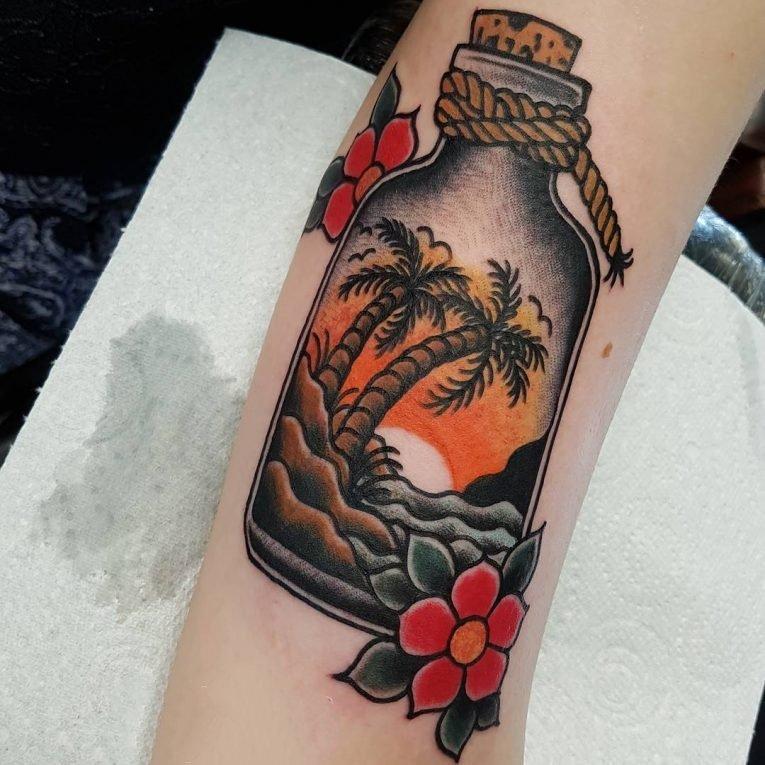 椰子树纹身图案-14张夏日气息十足的文艺精美椰子树纹身图案