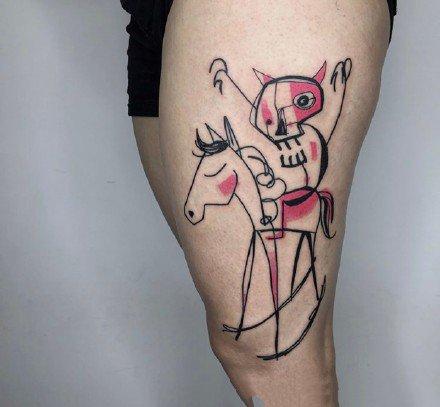 线条水彩纹身图案-9张线条水彩纹身图片