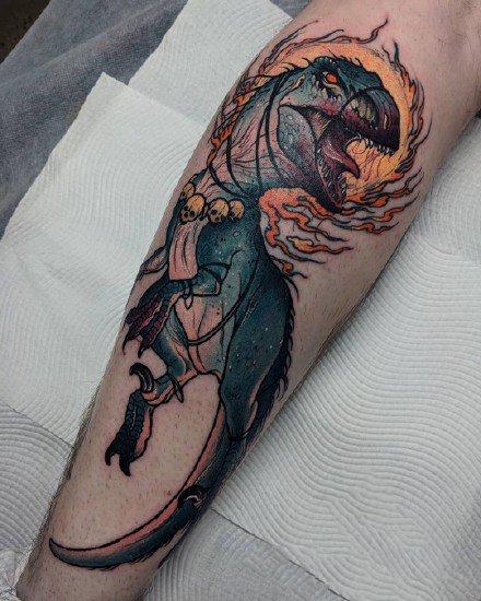 暗彩色的一组欧美动物怪兽纹身图案作品