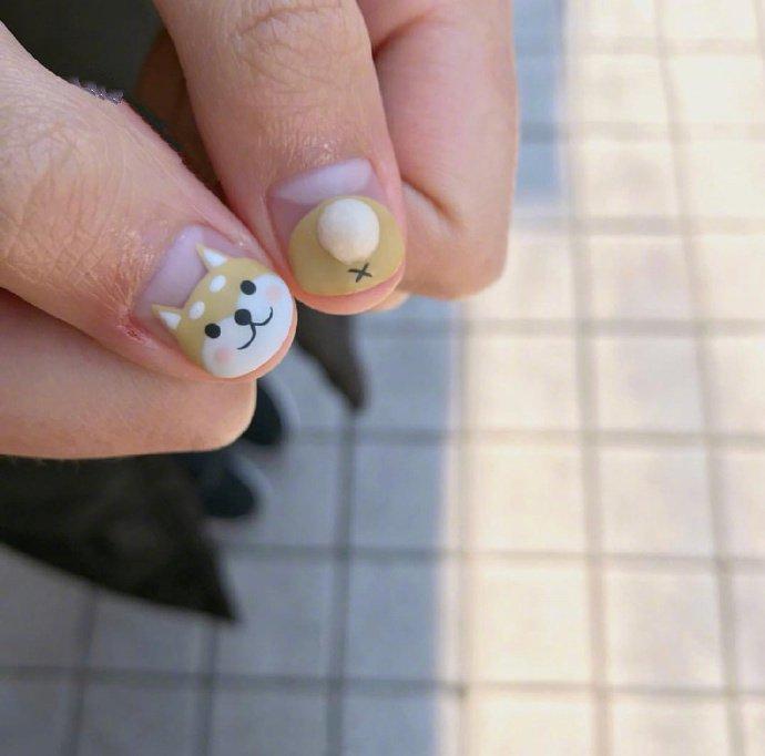 一组超可爱的柴犬美甲图片欣赏