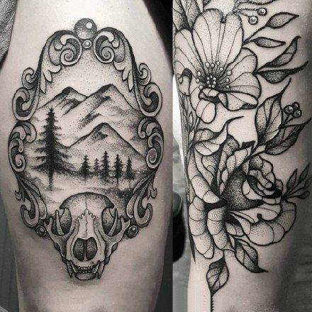 点刺黑灰风格的一组点刺和线条组合的黑灰纹身图案