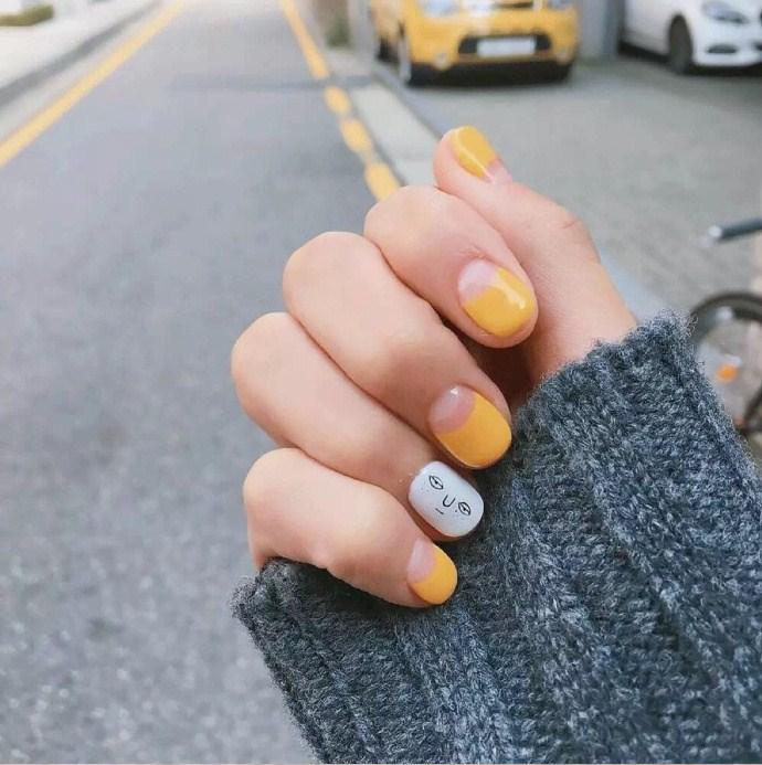 好看又超显手白的黄色系列秋季美甲