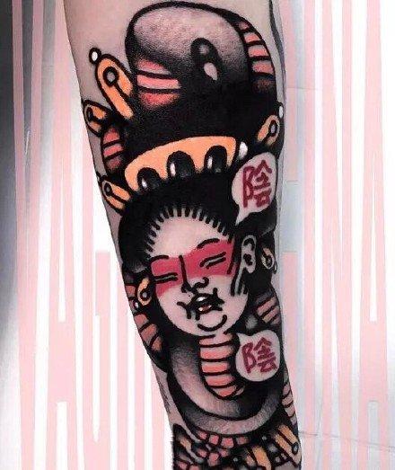手臂上很好的一组彩色school创意纹身图案9张