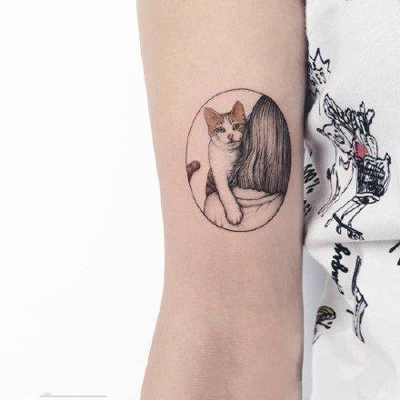 小清新动物:胳膊上很小清新的猫猫狗狗纹身图案