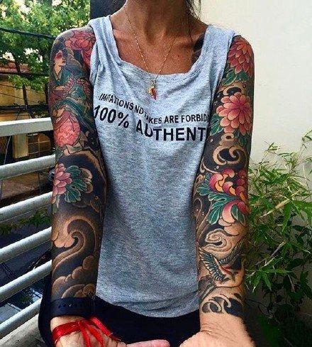 传统的一组霸气花卉大花臂纹身图案欣赏