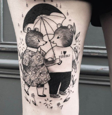可爱的一组黑灰童趣动物单线纹身作品图案