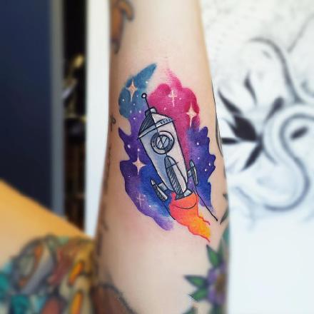 水彩小纹身:18张小清新的水彩色纹身图案