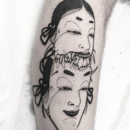 很邪恶的一组日式黑灰纹身作品9张