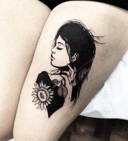 暗黑系风格的小女郎头像纹身图案欣赏