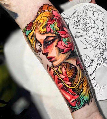 彩色日漫风格的一组手臂纹身图案欣赏