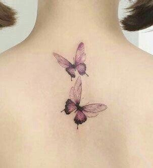 唯美适合女生的一组小清新蝴蝶纹身图案