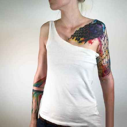 超创意的水彩风格的个性纹身图片作品