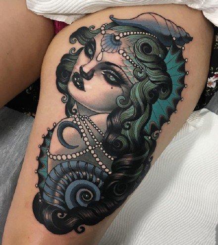 暗蓝色调的一组独特风格蓝色纹身图片