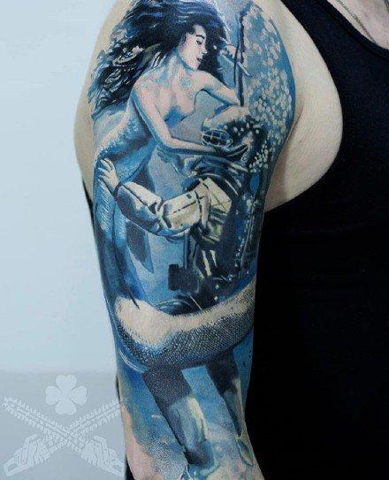 一组美人鱼的纹身作品图片欣赏