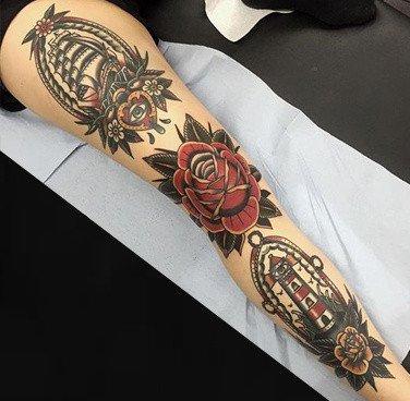 9张彩色old school的大花臂纹身赏析