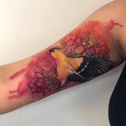 9张水彩泼墨风格的动物纹身作品图案