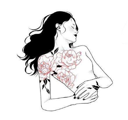 创意的一组女郎黑灰纹身手稿图片