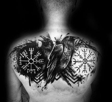 一组维京罗盘的符号图腾纹身图案