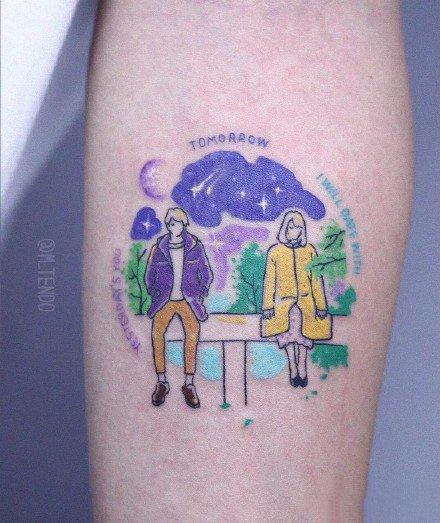 好看的一组紫色简约小清新纹身图片