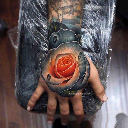 艳丽的一组3d玫瑰花朵创意纹身图案