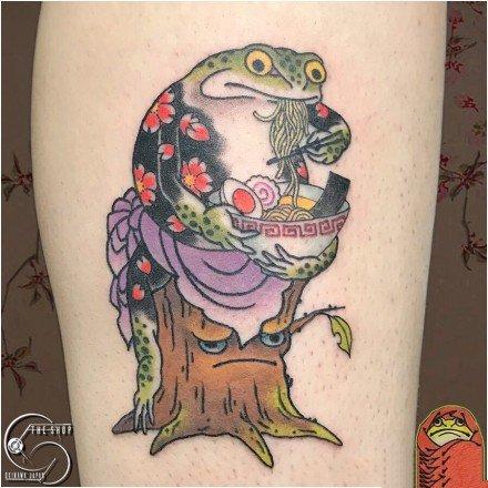 蟾蜍主题的一组金蟾等纹身图案