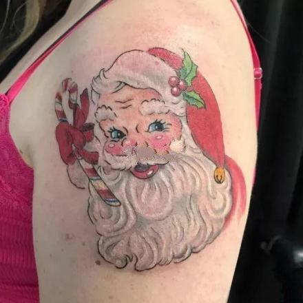 圣诞节主题的圣诞老人纹身图案