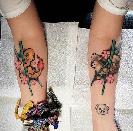 一组比卡丘等神奇宝贝的纹身图案
