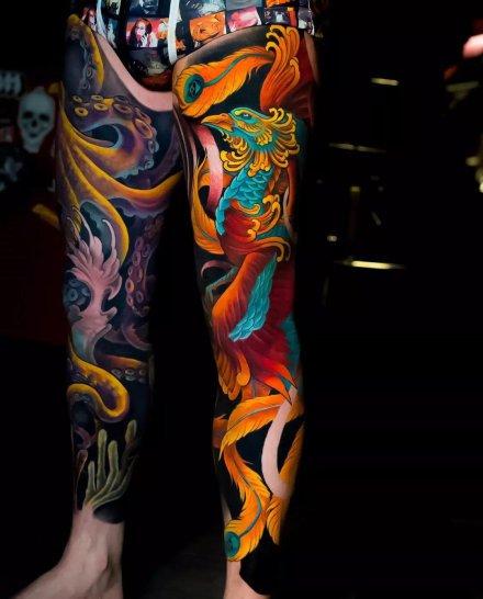传统风格的霸气大花腿纹身作品欣赏