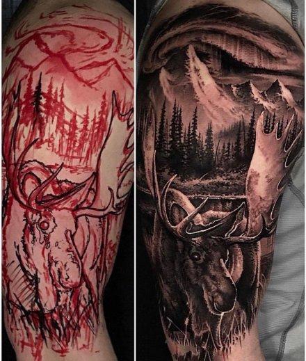 一组写实纹身的勾线与完成作品对比图