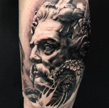 一组海王海神主题的纹身图案欣赏