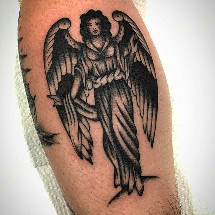天使翅膀纹身图案 多款黑灰色调带翅膀的天使纹身图案