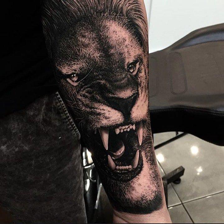 凶猛纹身图案 不同动物的凶猛表情的动物头面部纹身图案