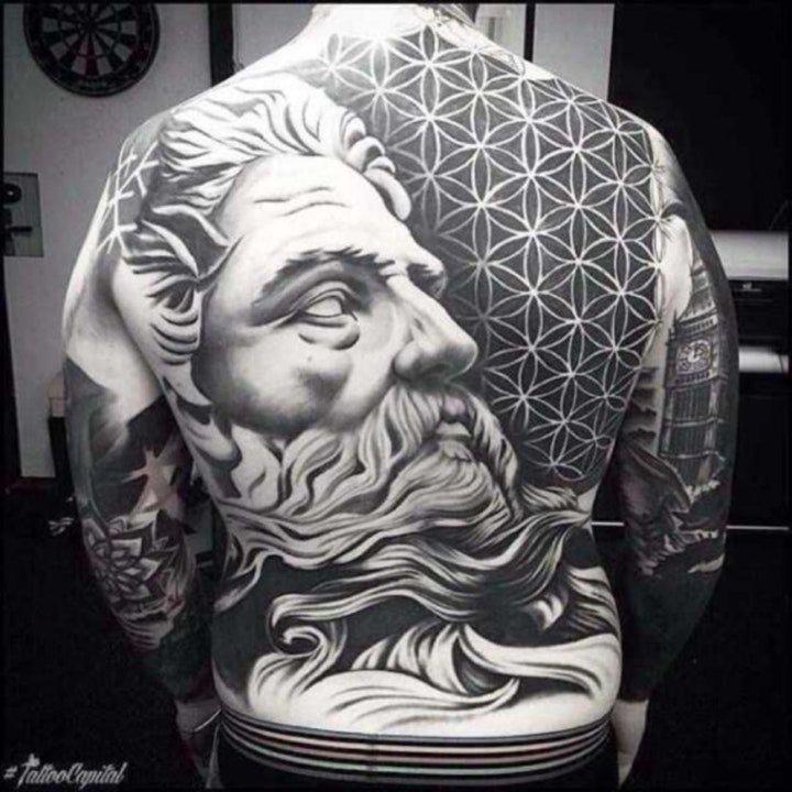 满背纹身图案 多款不同图案不同风格的满背纹身图案